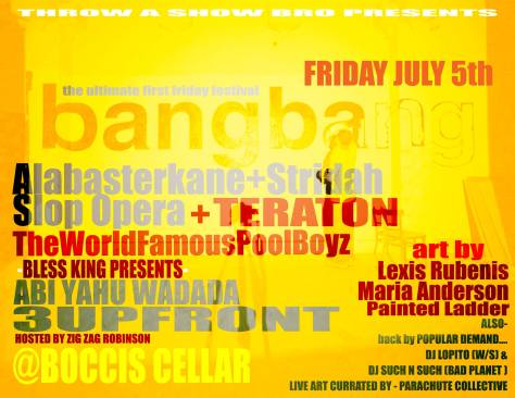 the world famous pool boyz boys flier bang bang boccis cellar throw a show bro