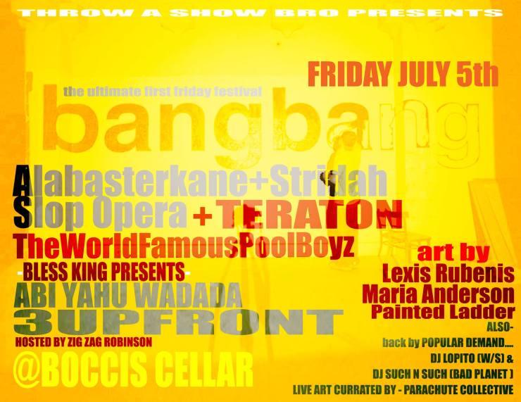 the world famous pool boyz boys flier bang bang boccis cellar throw a show bro