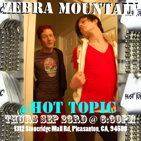 zebra mountain band hot topic show flier jake broughton jacob stoneridge mall pleasanton ca 94588