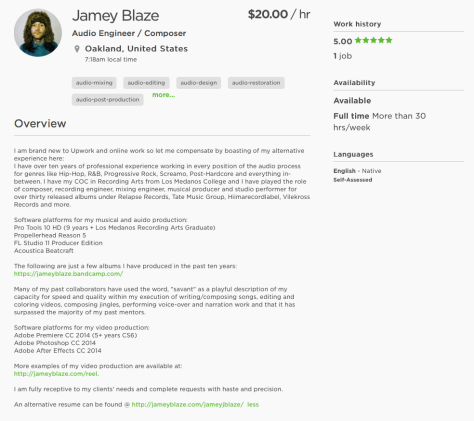 jamey blaze upwork up work resume portfolio profile 2015 auido engineer composer