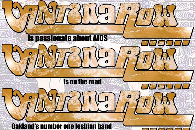 vantana row band slogan promo slip card gold is passionate about AIDS is on the road oaklands number one lesbian band