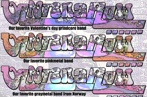 vantana row band slogan promo slip card pink purble orange our favorite vantentines day grindcore band our favorite pinkmetal band our favorite graymetal band from norway