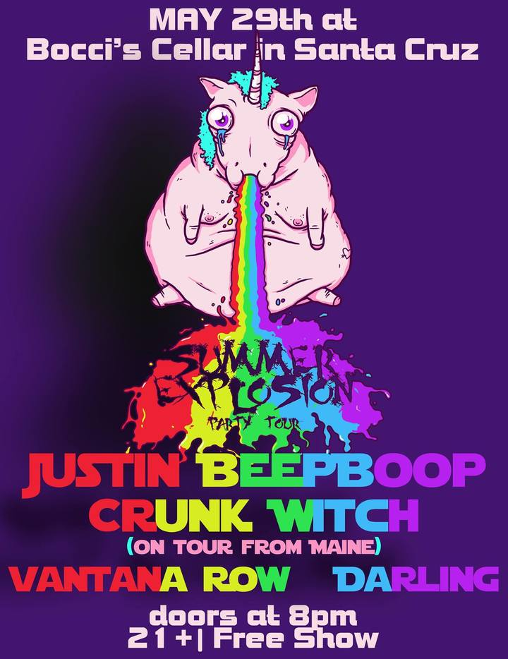 vantana row justin beepboop crunk witch on tour from maine darling dead recipe band show flier may 29th 2015 at bocci s cellar in santa cruz california