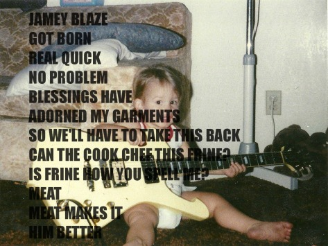 jamey blaze as baby holding ibanez iceman got born real quick