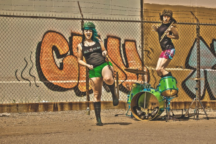 gay-girls-in-a-band-called-vantana-row-live-in-their-van-band-vaporwave-act-tank-girl-costume