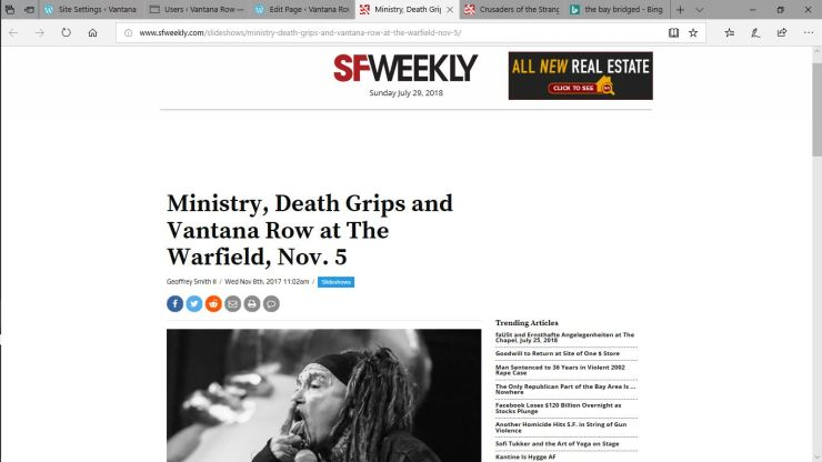ministry death grips vantana row sf weekly drive by show warfield van