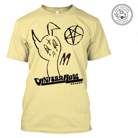 satanic easter bunny t shirt yellow seasonal vantana row teespring shop trap punk merch store ventana row band tee