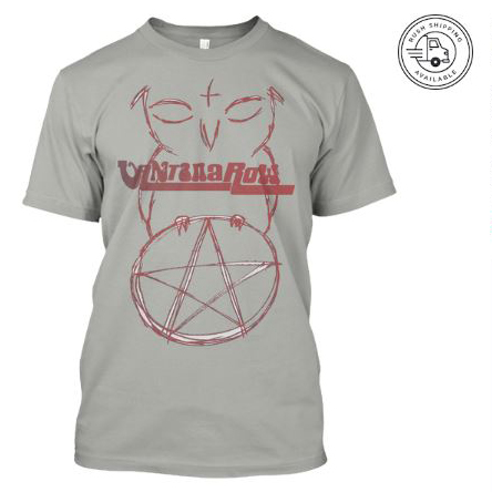 satan ball z series owl red pentacle vantana row grey shirt heavy metal grindcore merch bird love band tee