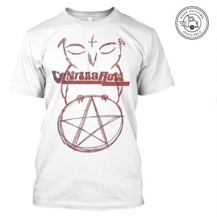 satan ball z series owl red pentacle vantana row white shirt heavy metal grindcore merch bird love band tee