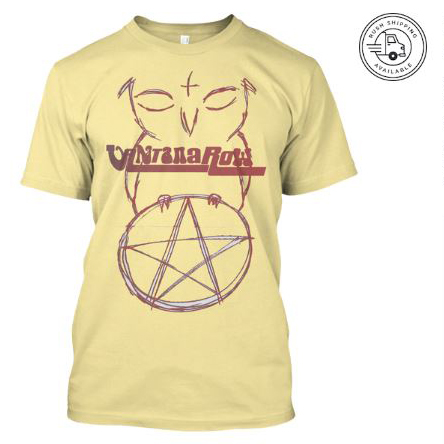 satan ball z series owl red pentacle vantana row yellow shirt heavy metal grindcore merch bird love band tee
