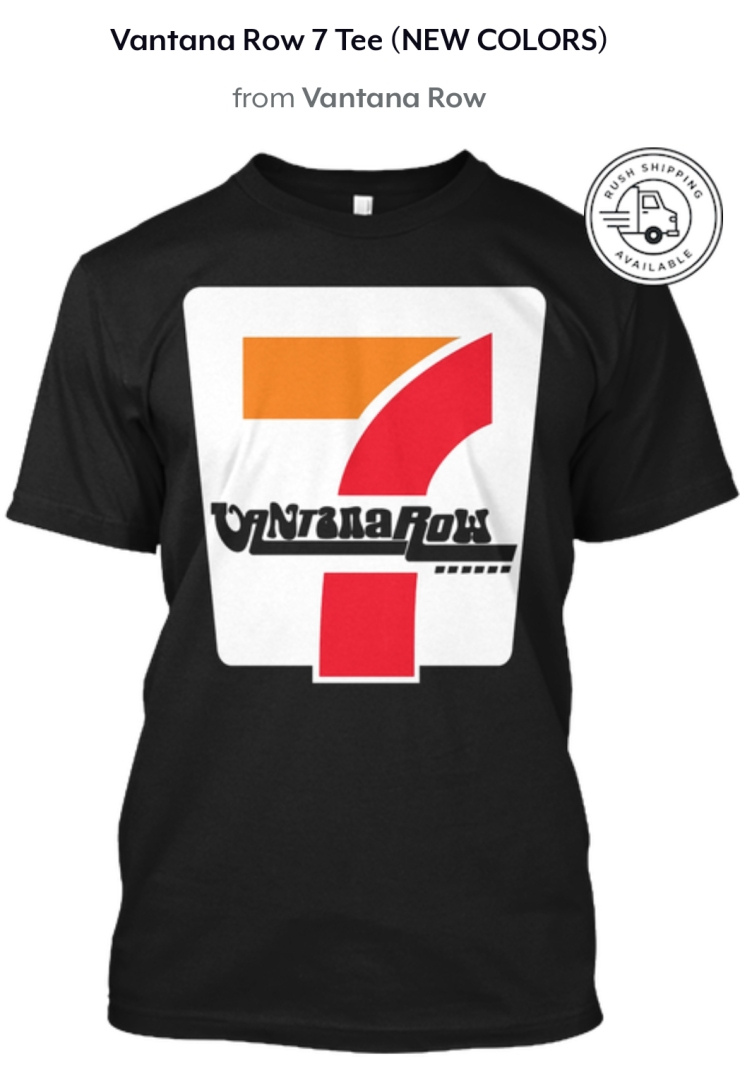 vantana row 7 seven shirt convenience store vibes black shirt tee grindcore vaporwave