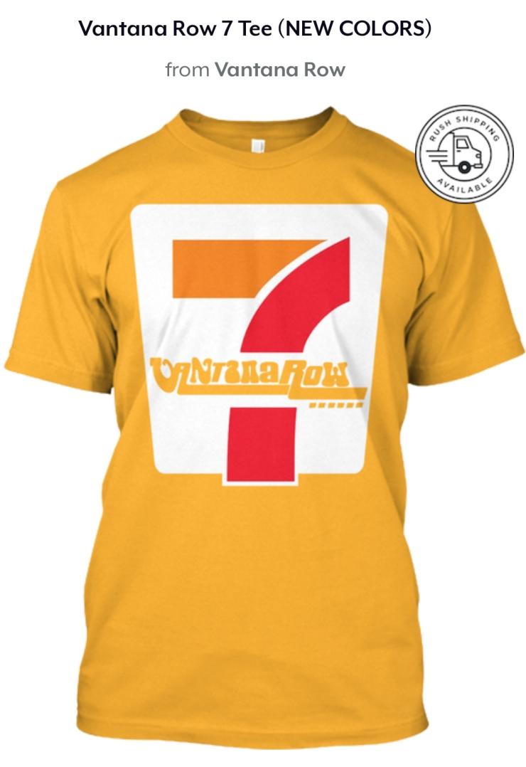 vantana row 7 seven shirt convenience store vibes yellow shirt tee grindcore vaporwave