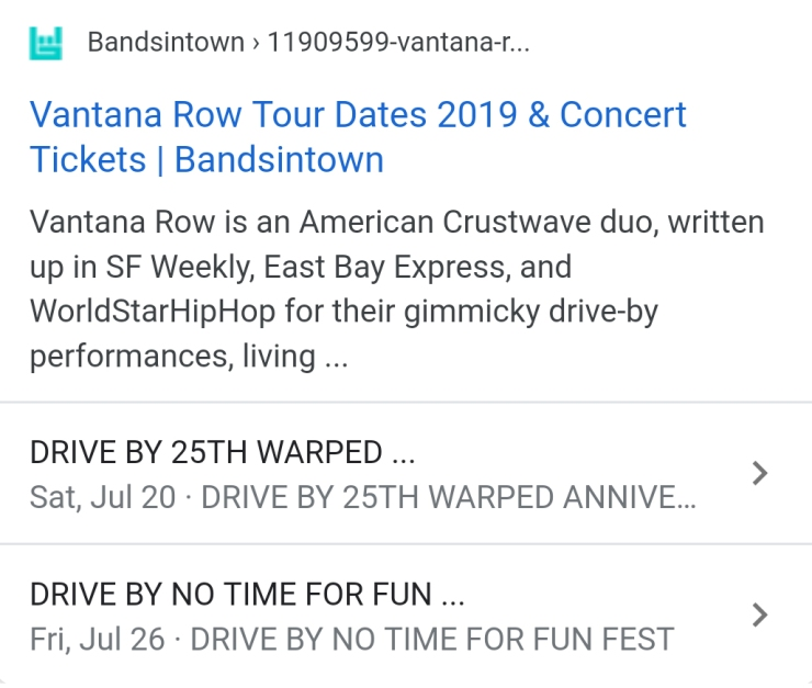 vantana row support bandsintown shows concerts tour dates no time for fun fest van band drive by show warped 25th anniversary